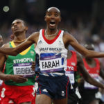 Britain's Mo Farah reacts as he wins the men's 5000m final at the London 2012 Olympic Games at the Olympic Stadium August 11, 2012.  REUTERS/Lucy Nicholson (BRITAIN  - Tags: SPORT ATHLETICS OLYMPICS TPX IMAGES OF THE DAY)