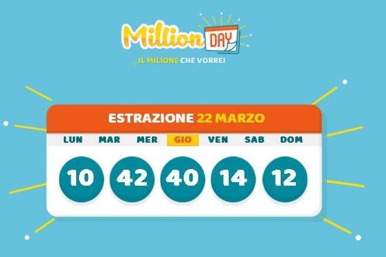 Estrazione Million Day 23 marzo 2018: i numeri vincenti