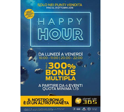 Scommesse, al via l'Happy Hour Planetwin365 con bonus